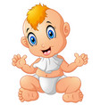cute happy smiling little baby boy vector image