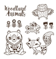 Decorative ornamental woodland animals set vector image vector image