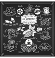 Decorative vintage cocoa icons vector image