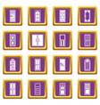 door icons set purple vector image vector image