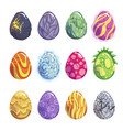 eggs of fantasy dragon or dinosaur bright set vector image vector image