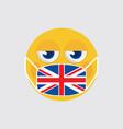 emoji medical mask shaped like an united kingdom vector image vector image