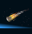 falling asteroid into atmosphere vector image vector image