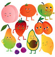 funny fruits and vegetables cartoon characters vector image
