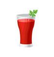 glass of delicious tomato juice with leaf of green vector image