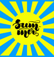 hand lettering summer on sunburst background for vector image