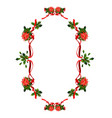 holiday floral ribbon frame vector image vector image