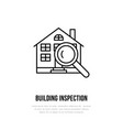house inspection flat line icon real vector image vector image