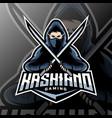 ninja mascot logo esport vector image vector image