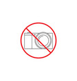 no camera line icon no photo red prohibited sign vector image vector image