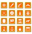 pirate icons set orange vector image vector image