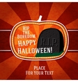 Pumpkin shape retro stylized badge with black rip vector image vector image