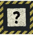 Question sign on asphalt in hazard frame EPS8 vector image