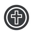 Round black christian cross sign vector image