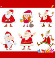 santa claus characters on christmas time cartoon vector image vector image