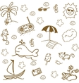 Set beach doodle art vector image vector image