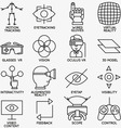 set linear icons devices for virtual reality vector image