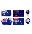set of australia flags collection isolated vector image vector image