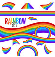 set of rainbows in different shape isolated vector image vector image