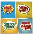 set retro comic bubbles pop art phrases vector image