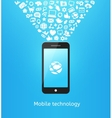 Smartphone on blue vector image vector image