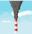 smoking factory pipe against clear sky with clouds vector image vector image