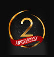 template gold logo 2 years anniversary with red vector image vector image
