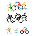 Triathlon cycling swimming symbols vector image vector image