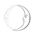 waxing crescent moon with a face of handsome young vector image