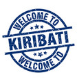 welcome to kiribati blue stamp vector image vector image