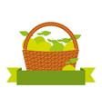 wicker basket with fresh lemon vector image vector image
