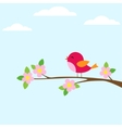 Bird on blooming branch vector image