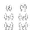 gay family thin line icons white vector image