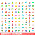 100 project start icons set cartoon style vector image vector image