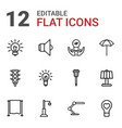 12 lamp icons vector image vector image
