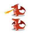 angry red dragon with fire breath cartoon vector image
