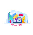 banner young girl talks about her vacation online vector image