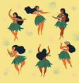 beautiful hawaiian girl dancing hula and ukulele vector image vector image