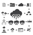 big data icons set cloud computing vector image vector image
