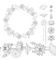 black and white wreath and seamless brush from vector image vector image