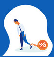 businessman pulling chain bound leg credit debt vector image vector image