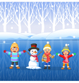 Cartoon kids playing on snow in winter time vector image