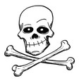cartoon of poison or pirate sign of skull and vector image
