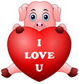 cartoon pig holding red heart vector image vector image