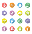 colorful flat icon set 9 on circle with long shado vector image