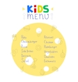 Colorful kids meal menu design template vector image