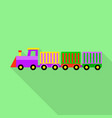 colorful toy train icon flat style vector image vector image