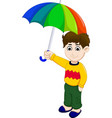 cute boy cartoon holding umbrella vector image vector image