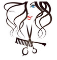 face girl scissors and comb vector image