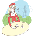 French girl in cafe vector | Price: 1 Credit (USD $1)